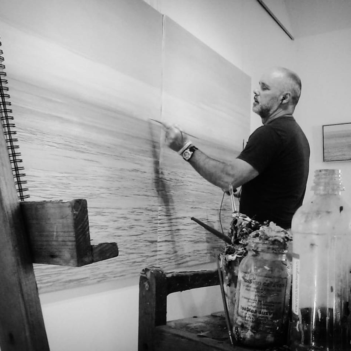 Mark Cairns Painting in his studio